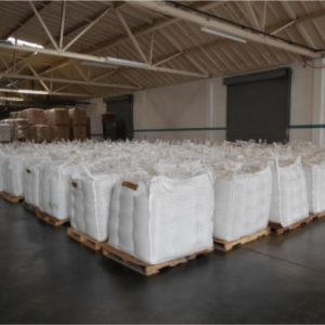 Chia loaded onto pallets in preparation for shipping